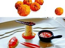 Marigoldit kuin astian koristelu