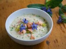 Deliciosa sopa de puré de pepino