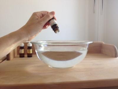 Inhalación con aceite esencial de hierba de limón.