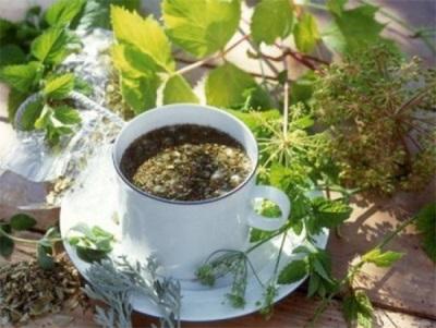 Чай с денгин, хмел и мелиса