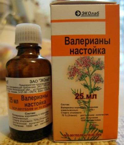 Tintura valeriana em embalagens farmacêuticas