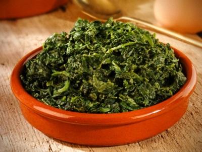 Espinafre cozido em caloria